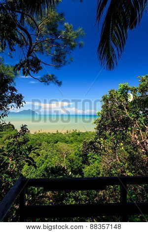 Tropical landscape over jungle and hills