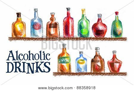 bottle on a white background. vodka, wine, champagne, whiskey and other