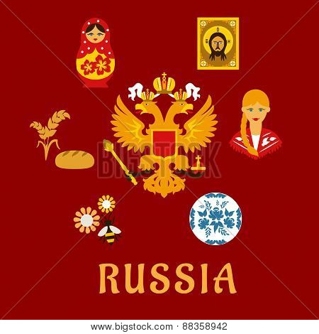 Russian traditional national flat symbols