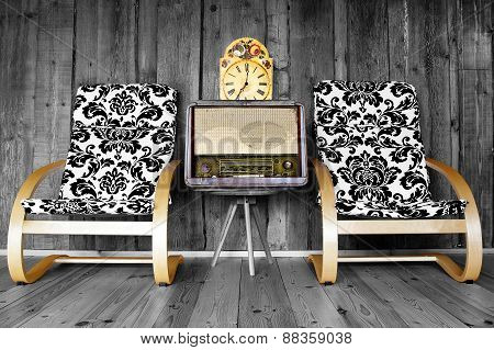 Vintage Chairs With Radio And Clock