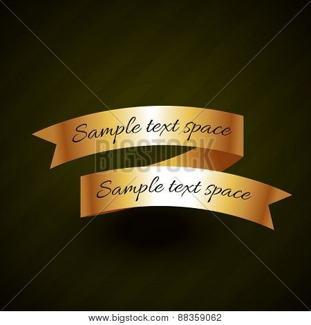 golden ribbon vector design with space for your text