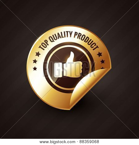 top quality product design with thumbs up golden label design