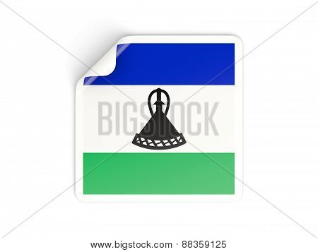 Square Sticker With Flag Of Lesotho