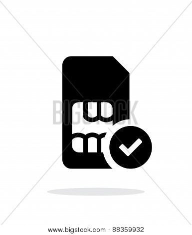 SIM card with accept sign simple icon on white background.