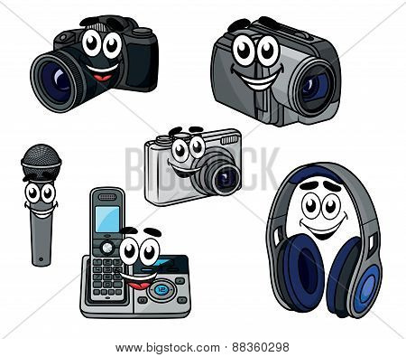 Cartoon cheerful digital devices and gadget characters