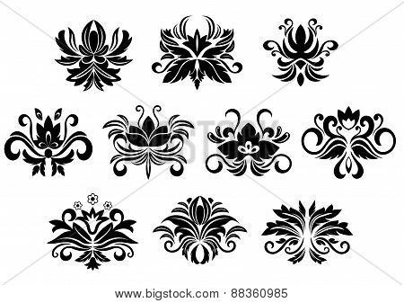 Retro floral and foliage design elements