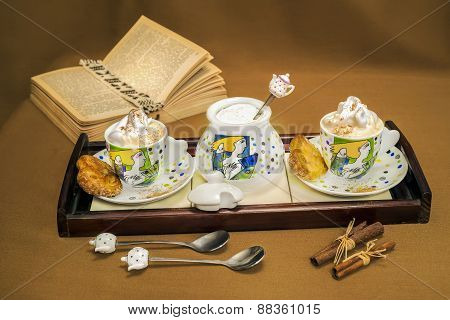 L Wooden Tray Whit Two Cups Of Coffee, Sugar And Can