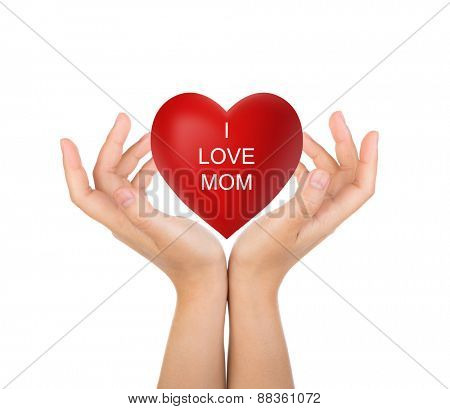 Happy mother's day Red heart in woman hand