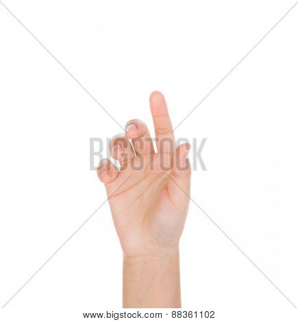 Woman hand touching virtual screen isolated on white background