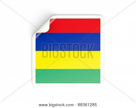 Square Sticker With Flag Of Mauritius