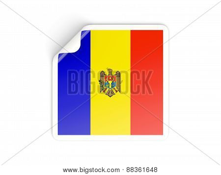 Square Sticker With Flag Of Moldova