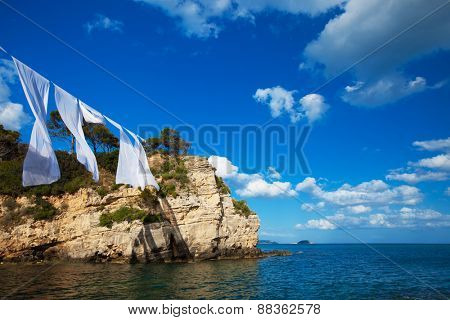 Travel concept - paradise island, sea, sky, summer.Agios Sostis in Zakynthos island,Greece.