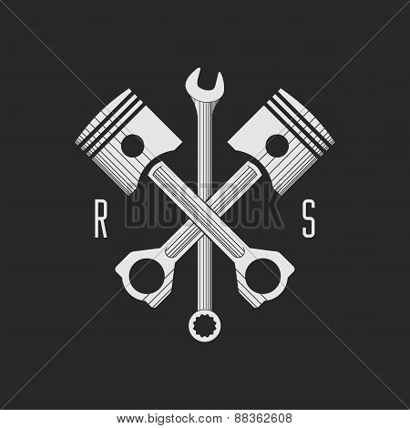 ?ar or bike workshop logo template (concept). Vector illustration.