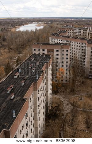 View From Roof Of 16-storied Apartment House In Pripyat Town, Chernobyl Nuclear Power Plant Zone Of