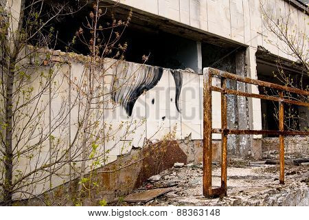 Graffiti On Abandoned Central Square In Pripyat Ghost Town, Chernobyl Nuclear Power Plant Zone Of Al