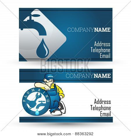 Business card for plumbing repair business
