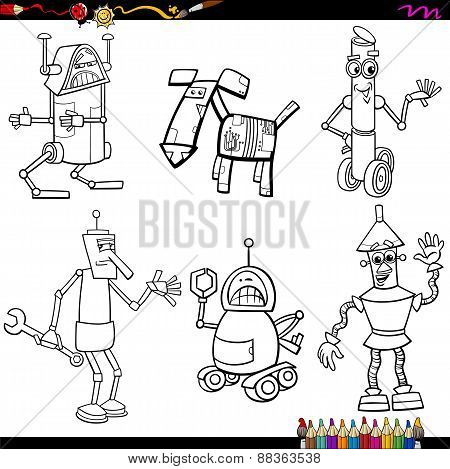 Fantasy Robots Cartoons Coloring Page