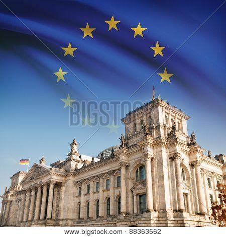 Reichstag (bundestag) Building In Berlin With Flag On Background - Eu