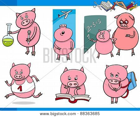Piglet Character Student Cartoon Set