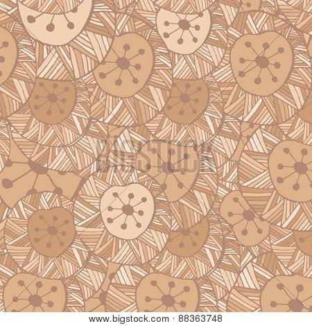 Vector seamless Hand drawn ornamental pattern with circle and lines in brown colors