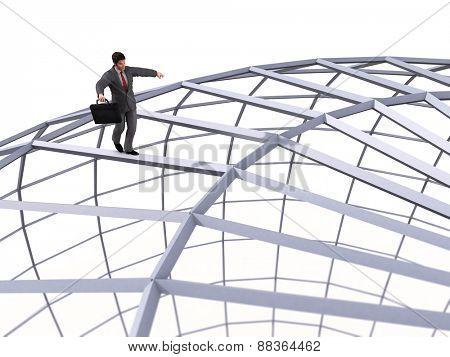 businessman walking on top of the sphere
