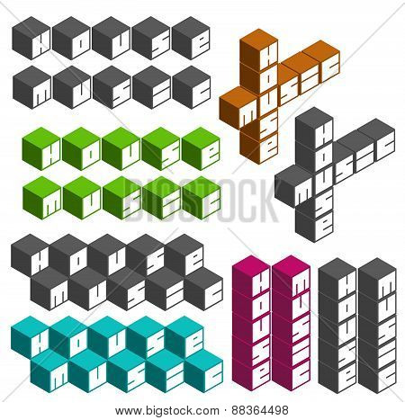 House Music Party Cubic Square Fonts In Different Colors
