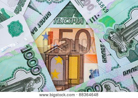 background 50 Euro and 1,000 Russian rubles