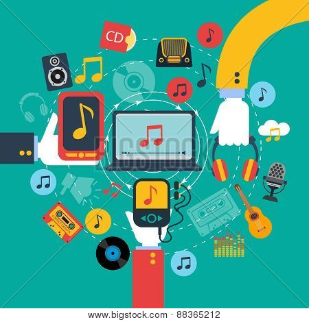 Music apps concept poster print