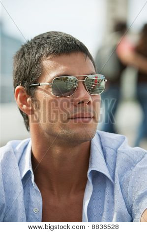 Man With Sunglasses Looking Away