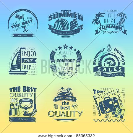 Summer holiday vacation labels set