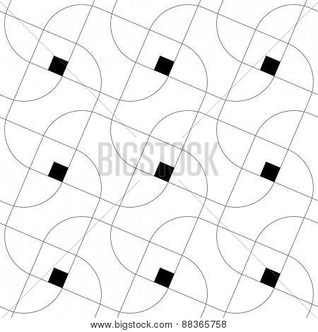 Seamless Square and Line Pattern. Abstract Monochrome Background. Vector Regular Texture