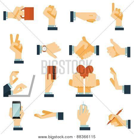 Hand icons set flat