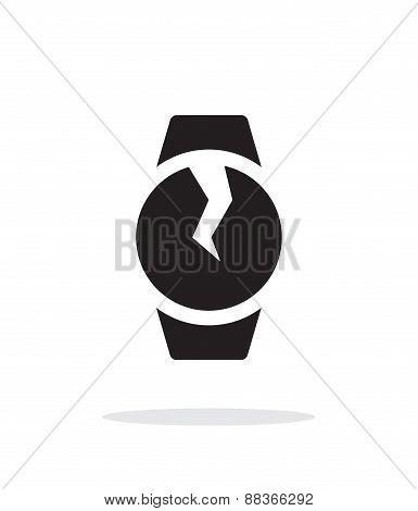 Broken round smart watch simple icon on white background.