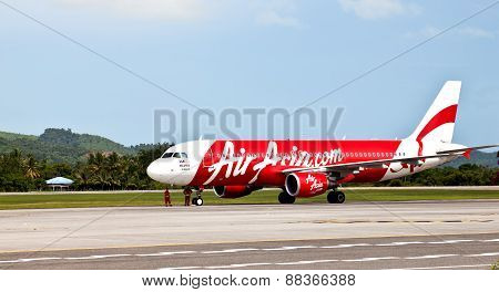 AirAsia airplane on the runway