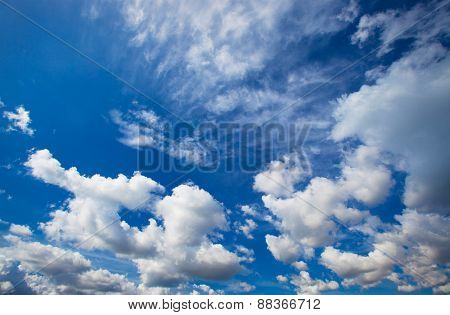 Blue sky with clouds closeup, summer day