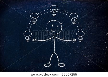 Funny Man Juggling Ideas, Concept Of Intellectual Property