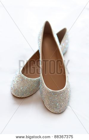 Flat Wedding Shoes With Diamante