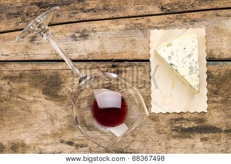 Piece Of Blue Cheese With Glass Of Wine