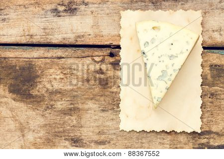 Blue Cheese Background With Copyspace.