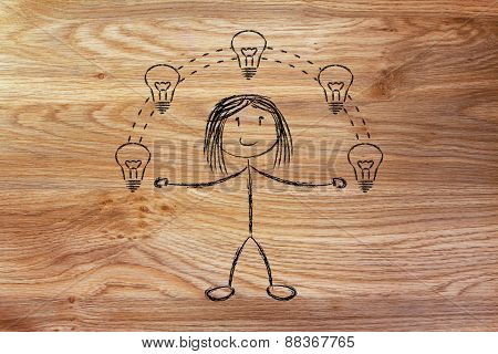 Funny Girl Juggling Ideas, Concept Of Intellectual Property