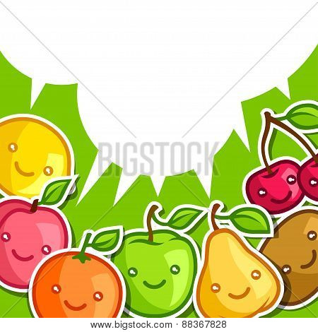 Background with cute kawaii smiling fruits stickers
