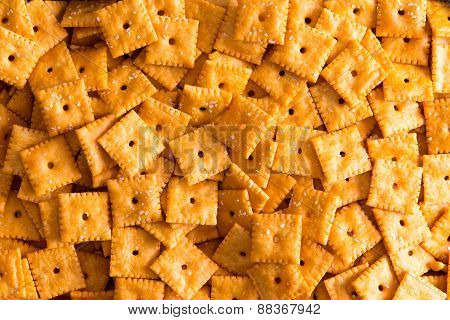 Background Texture Of Square Cheese Crackers