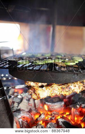 Cooking Of Kebab And Vegetable
