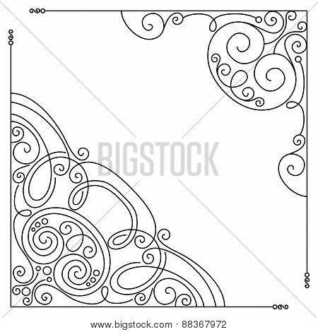 Vector Set Of Vintage Template With Ornate Lace Corners