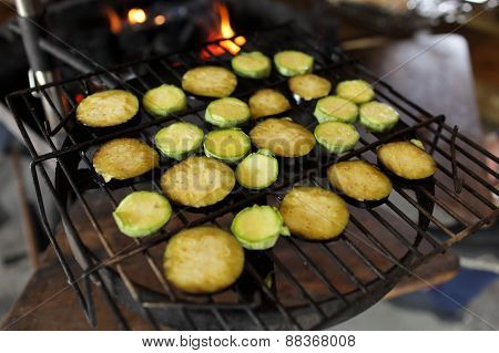 Raw Eggplant On The Grill