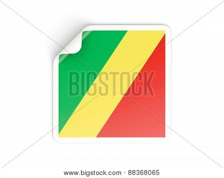 Square Sticker With Flag Of Republic Of The Congo