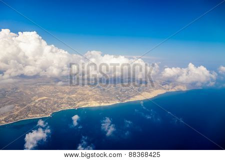 Cyprus island shore aerial view