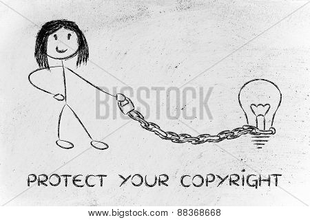 Funny Copyright Owner Girl With His Idea On A Chained Leash: Protecting Intellectual Property