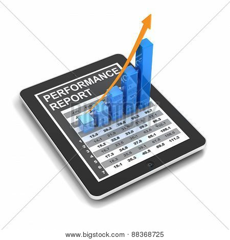 Digital tablet with rising chart