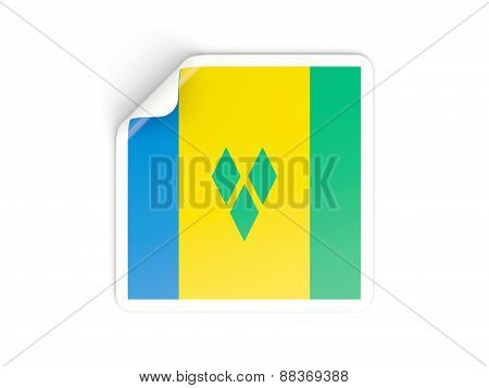 Square Sticker With Flag Of Saint Vincent And The Grenadines